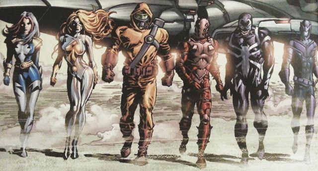 Od lewej: Songbird, Moonstone, Radioaktywny Człowiek, Penance, Venom, Swordsman. Moonstone przeprasza za postawę, ale wysokie stężenie seksapilu spowodowało u niej skoliozę (ech, komiksy...)