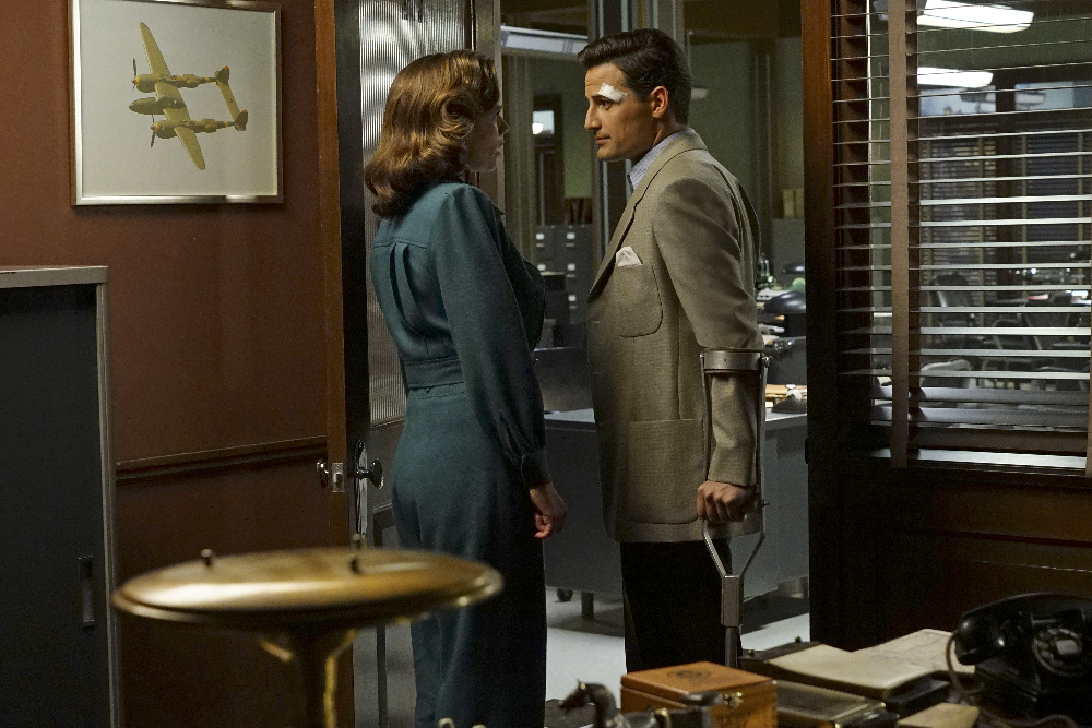 "MARVEL'S AGENT CARTER - ""The Edge of Mystery"" - Peggy and Sousa propose a trade with Whitney Frost, while the SSR gets help from Howard Stark that may be the key to eliminating Zero Matter, on ""Marvel's Agent Carter,"" TUESDAY, FEBRUARY 23 (9:00-10:00 p.m. EST) on the ABC Television Network. (ABC/Byron Cohen) HAYLEY ATWELL, ENVER GJOKAJ"